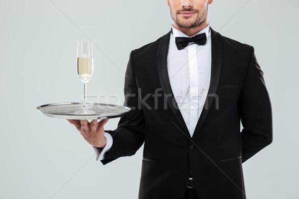 ウェイター タキシード トレイ ガラス シャンパン ストックフォト © deandrobot