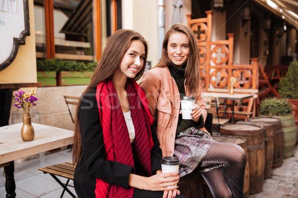 2 幸せ 女性 座って 飲料 コーヒー ストックフォト © deandrobot