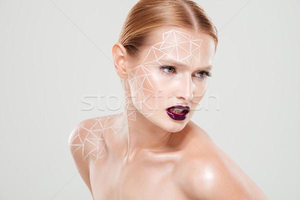 Piękna obraz zagęszczony dziewczyna body art Zdjęcia stock © deandrobot