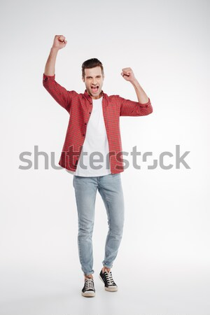 Vertical image of screaming man Stock photo © deandrobot
