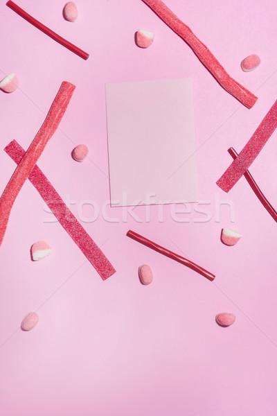 Piros cukor cukorkák lap papír felső Stock fotó © deandrobot