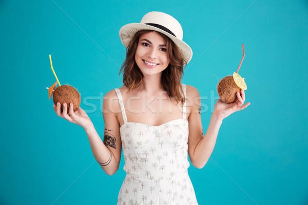 портрет счастливым путешественник соломенной шляпе улыбаясь Сток-фото © deandrobot