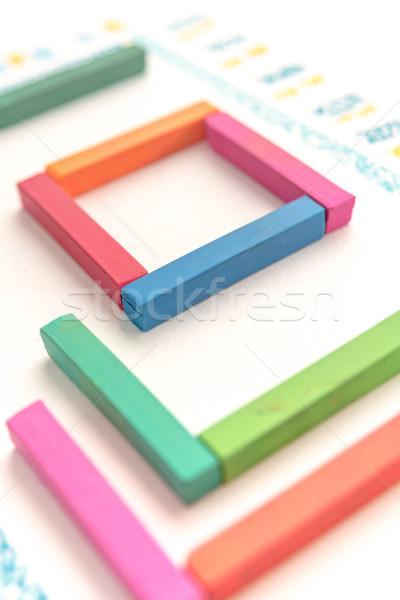 Foto cute geometrisch patroon kleurrijk pastel textuur Stockfoto © deandrobot