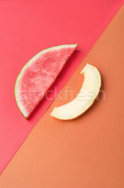 Fette melone isolato fetta anguria pietre Foto d'archivio © deandrobot