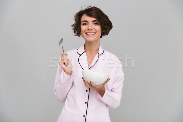 Portret radosny zdrowych dziewczyna piżama Zdjęcia stock © deandrobot