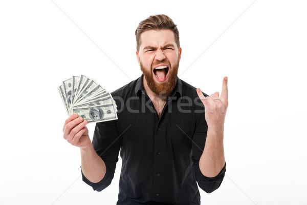Feliz gritando barbudo homem de negócios camisas Foto stock © deandrobot