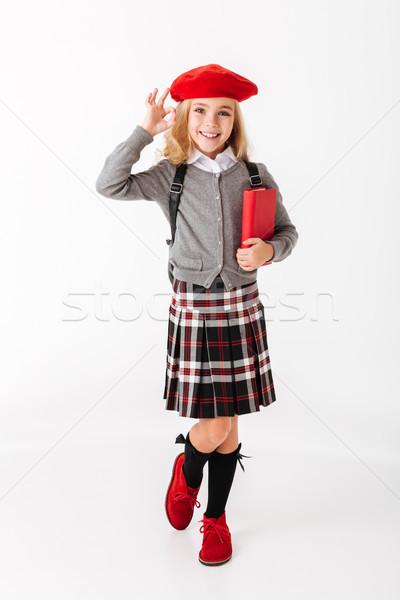 портрет Cute мало школьница равномерный Сток-фото © deandrobot