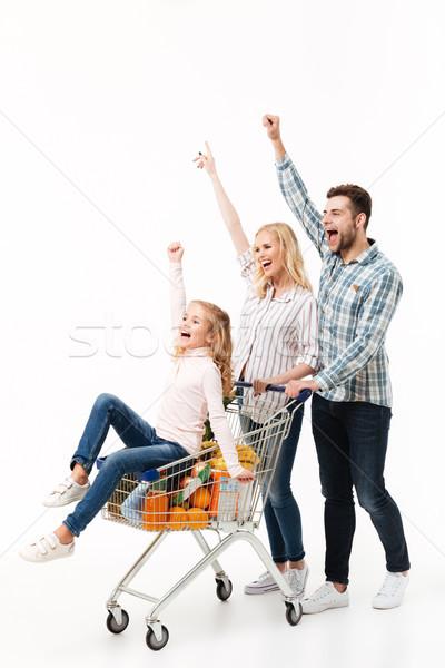 Stock fotó: Teljes · alakos · portré · örömteli · család · sétál · bevásárlókocsi