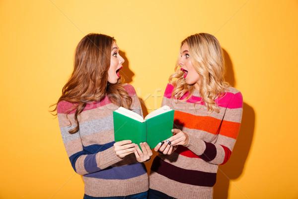 Portre iki şaşırmış kızlar kitap Stok fotoğraf © deandrobot