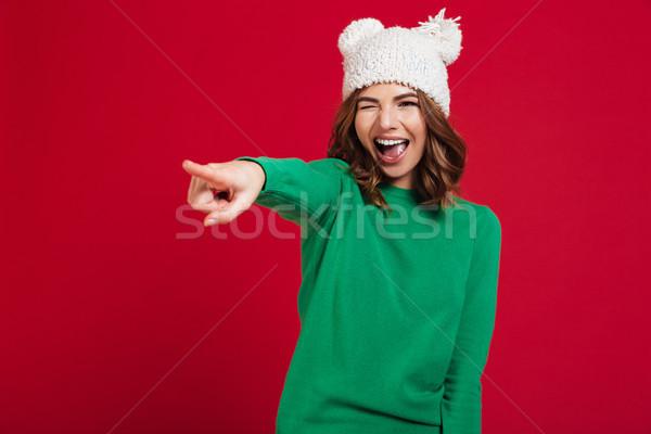 幸せ ブルネット 女性 セーター 面白い 帽子 ストックフォト © deandrobot