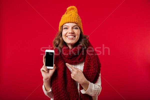 Portre kız kış şapka eşarp Stok fotoğraf © deandrobot