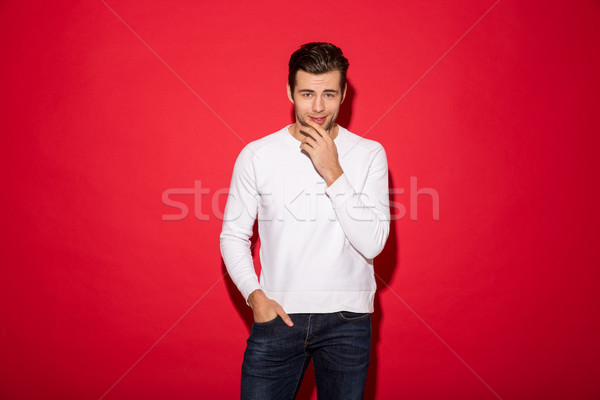 Mystery man in sweater holding chin and looking at camera Stock photo © deandrobot