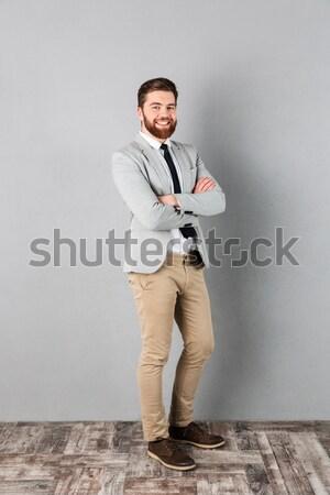 Portret tevreden zakenman pak permanente armen Stockfoto © deandrobot