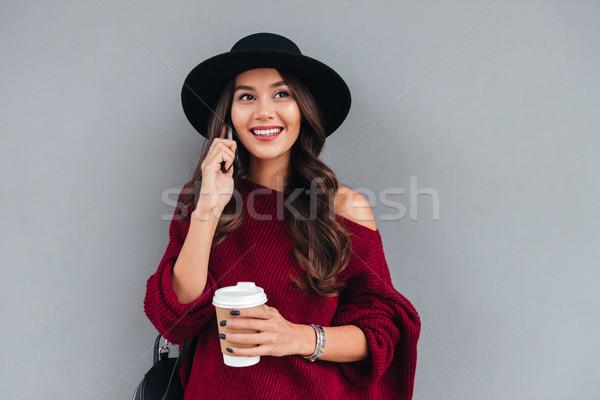 Ritratto sorridere asian ragazza Hat Foto d'archivio © deandrobot