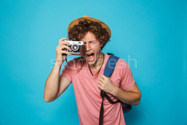 фото счастливым путешественник человека вьющиеся волосы Сток-фото © deandrobot