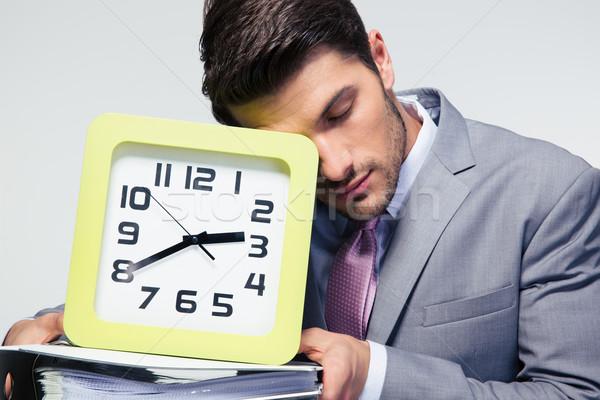 Stok fotoğraf: Uyku · işadamı · klasörler · saat · portre