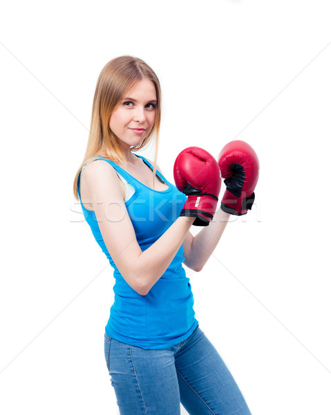 Young woman in boxing gloves Stock photo © deandrobot