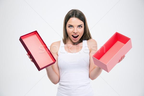 Nem leírás nő doboz száj fiatal Stock fotó © deandrobot