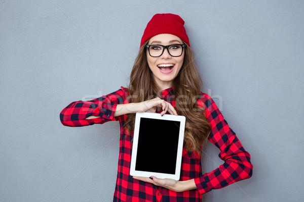 смеясь женщину экране портрет Сток-фото © deandrobot