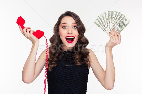 Stock fotó: Izgatott · nő · retró · stílus · tart · pénz · telefonkagyló