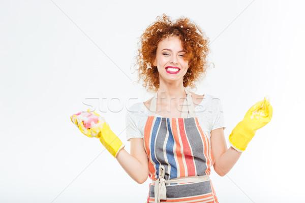 женщину пена вьющиеся волосы желтый Сток-фото © deandrobot