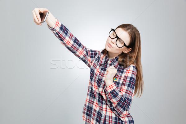 Stock fotó: Vonzó · tinilány · szemüveg · okostelefon · elvesz · bájos