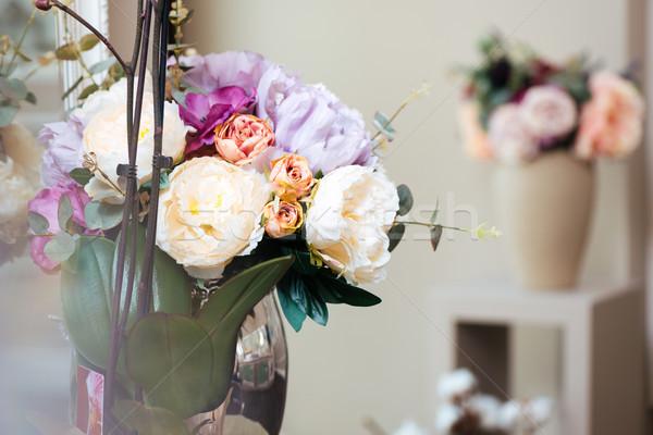 красивой свежие цветы дизайна комнату интерьер Сток-фото © deandrobot