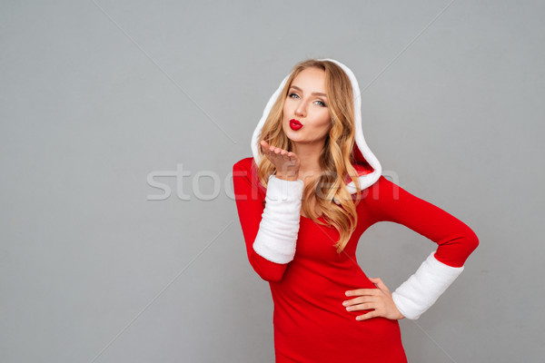 Charmant femme nouvelle année costume Photo stock © deandrobot
