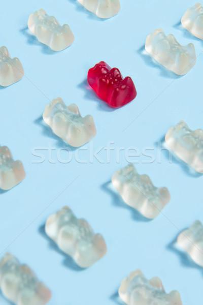 Mastigar doce ursinho de pelúcia forma imagem azul Foto stock © deandrobot