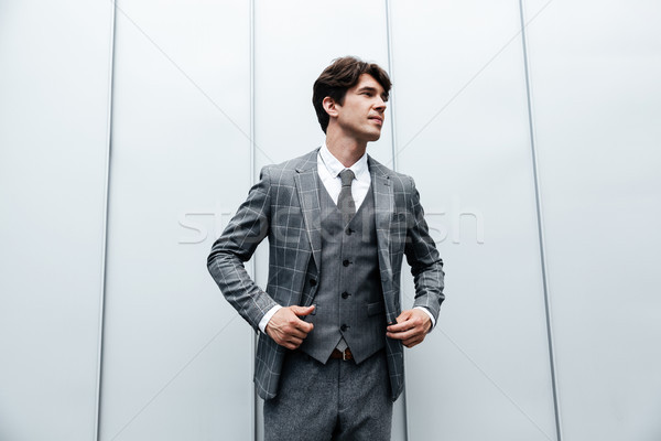Young businessman in suit and necktie posing Stock photo © deandrobot