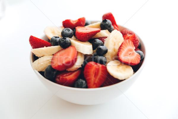 Vruchtensalade witte foto tabel binnenshuis voedsel Stockfoto © deandrobot