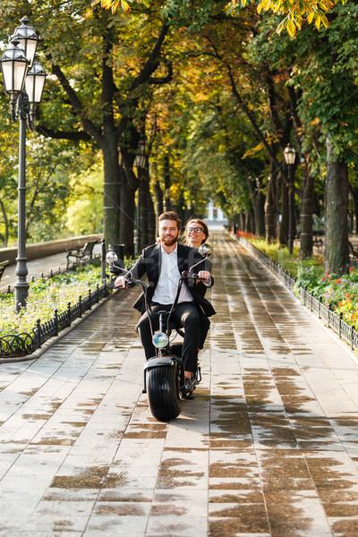 вертикальный изображение счастливым элегантный пару современных Сток-фото © deandrobot