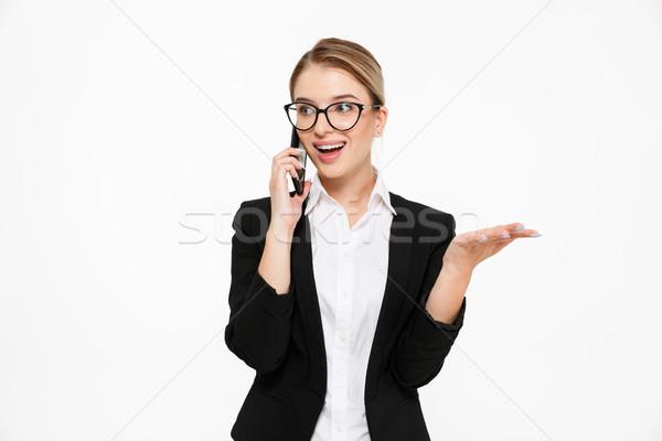 Zdjęcia stock: Zdziwiony · szczęśliwy · business · woman · okulary · mówić