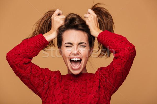 Fotó sikít barna hajú nő csukott szemmel készít Stock fotó © deandrobot