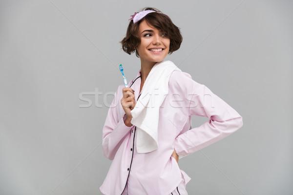 Portrait heureux souriant fille pyjama serviette Photo stock © deandrobot