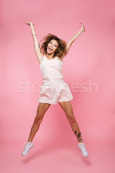 Tam uzunlukta portre mutlu heyecanlı kız yaz Stok fotoğraf © deandrobot