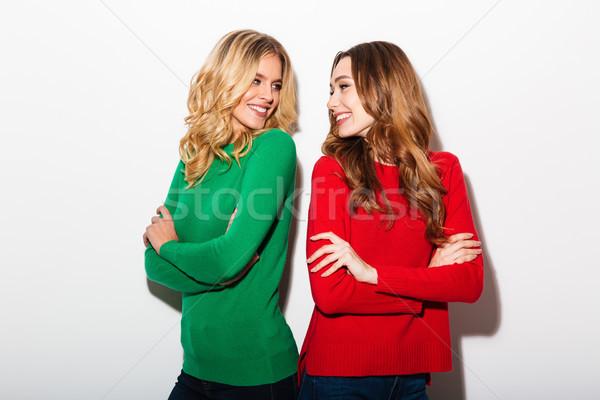 портрет два счастливым девочек Постоянный оружия Сток-фото © deandrobot