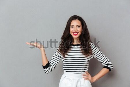 Retrato adorável sorrindo cabelo falante Foto stock © deandrobot