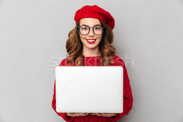 肖像 笑顔の女性 赤 セーター 眼鏡 ストックフォト © deandrobot