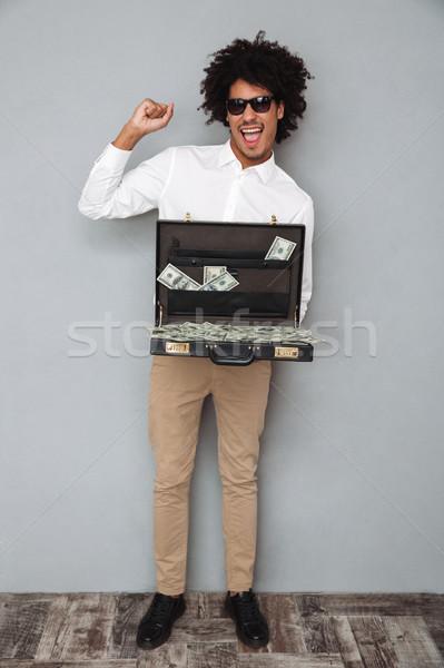 Tam uzunlukta portre neşeli afro amerikan adam Stok fotoğraf © deandrobot