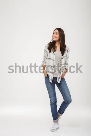 Bild zufrieden Brünette Frau Shirt Stock foto © deandrobot