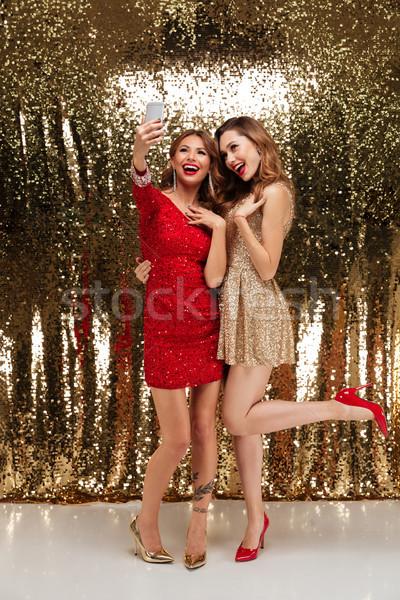 Portret dwa radosny atrakcyjny kobiet Zdjęcia stock © deandrobot