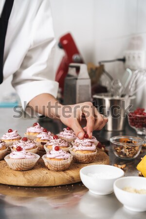 Cropped shot of man and woman put jam on bread in the morning Stock photo © deandrobot