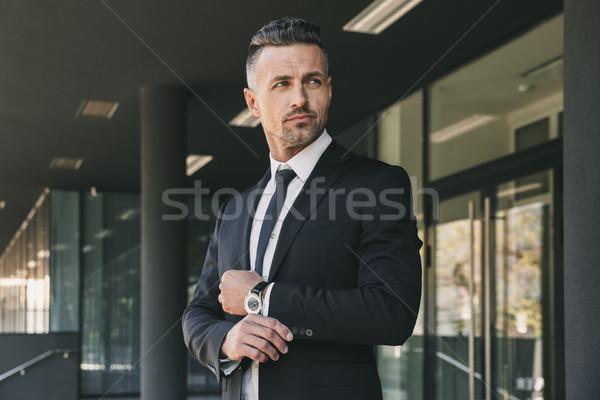 Portret przystojny młodych biznesmen garnitur stałego Zdjęcia stock © deandrobot