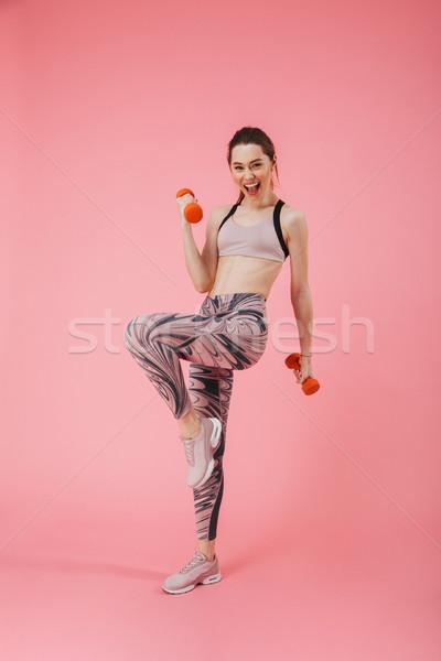 Függőleges kép boldog sikít sportoló testmozgás Stock fotó © deandrobot