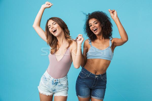 Foto stock: Dos · jóvenes · ninas · verano · ropa · feliz