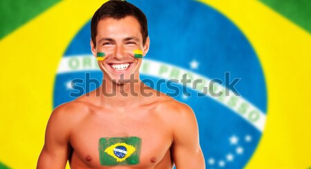Football fans are ready for fight over brazilian flag background Stock photo © deandrobot