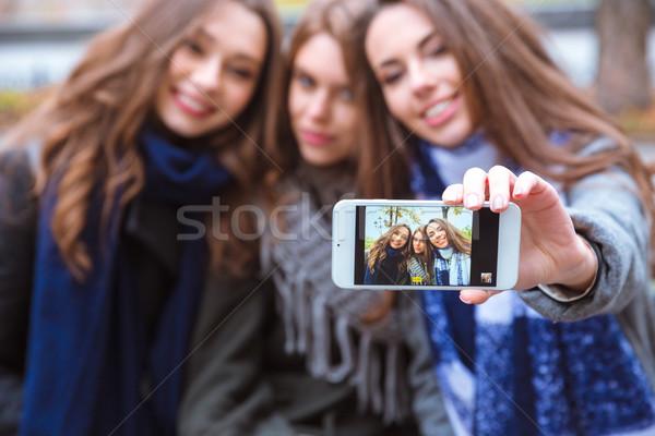 Smiling girlfriends making selfie photo  Stock photo © deandrobot