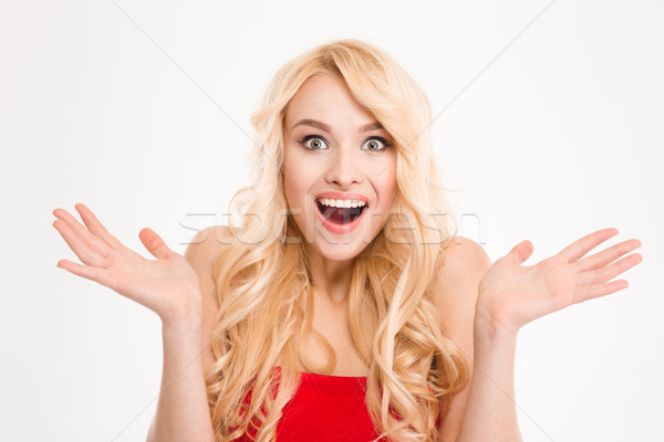 Portrait of amazed happy female holding copyspace on both palms  Stock photo © deandrobot