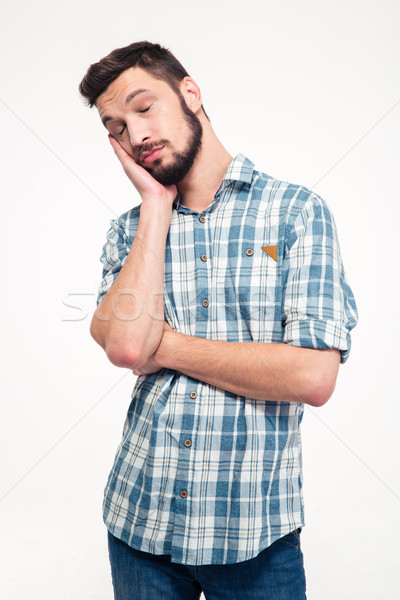 портрет сонный устал красивый молодым человеком борода Сток-фото © deandrobot